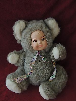 "Vintage Cuddle Wit Hard Composite Face Gray Bear Baby Plush 14"" Tall 11"" Wide"