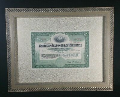Framed 1952 AT&T American Telephone & Telegraph Stock Certif 1 Share 19x15 VFINE