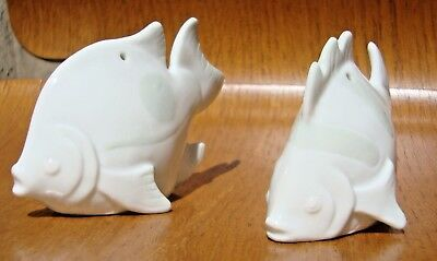 Vintage Fitz and Floyd Japan Fish Salt and Pepper Shakers Set White & Gray FF
