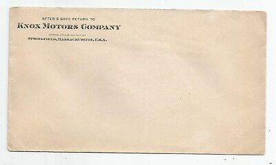 c1910 Advertising Cover Knox Motors Co Springfield Ma Mass  Envelope  Auto