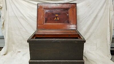Large 19th Century Marquetry Carpenters Tool Chest w Tools Named