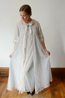 1960s blue lace peignoir long nightgown set