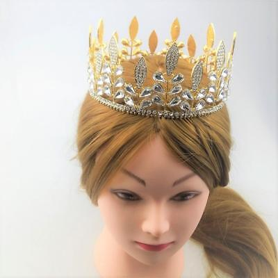 Baroque Crystal Rhinestones Crown Bridal Tiara Pageant Costume Gold/Silver