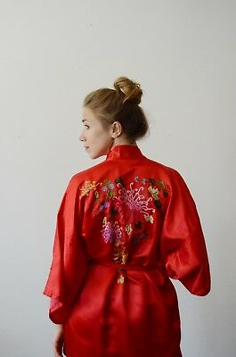 Vintage Red floral embroidered robe