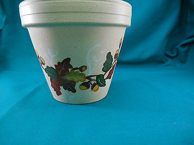 Round Hand Painted Terra Cotta Clay  Flower Plant Pot Fall Leaves and Acorns