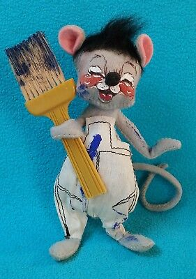 Rare Annalee Mobilitee Gray PAINTER Mouse~1971~Blue Paint Brush~Ivory Overalls