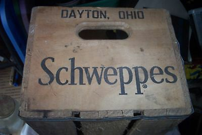 Vintage Schweppes Wooden Soda Crate Wood Box In Good Condition Hard To Find