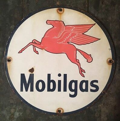 Mobil Mobilgas Porcelain Sign OIL GASOLINE GAS pump plate VINTAGE OLD