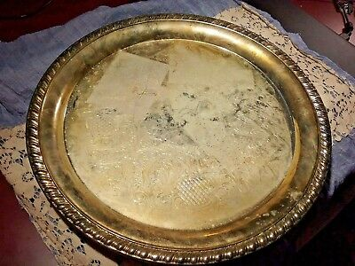"""Crosby Silver Plate Round Etched Serving Tray Platter 12.5"""" Marked"""