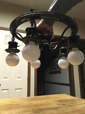 Vintage Antique Victorian 5 Light Ornate Chandelier Cast Iron Hanging Ceiling