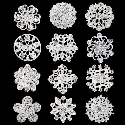 12pc/lot Mixed Alloy Vintage Style Rhinestone Crystal Brooch DIY Bouquet AB165