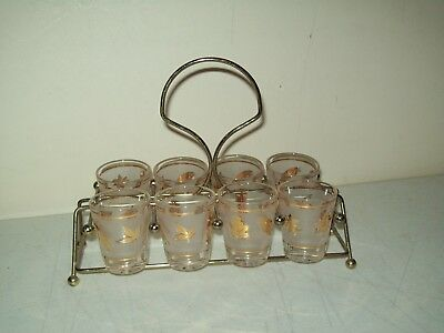 vintage Libbey shot glasses G Reeves signed gold leaf floral with carrier cady