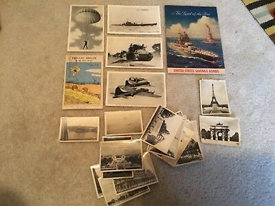LOT OF VINTAGE  WW ll USA  Europe  PHOTOGRAPHS & 1944 Post Cards & Bonds