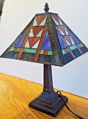 Arts and Crafts Tiffany Style Small Mission Stained Glass Accent Lamp