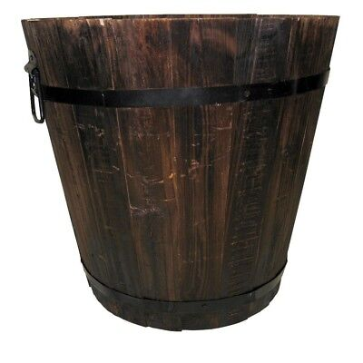Vintage Flame Wood Bucket Luxury Garden Old Dark Burn Style Decor Planter Design