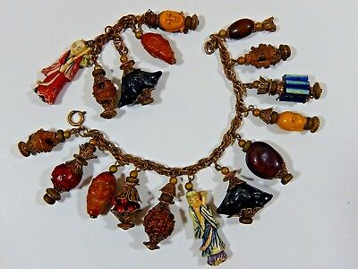 Rare Antique Chinese Export Loaded Carved Figural Charm Bracelet & Pendant