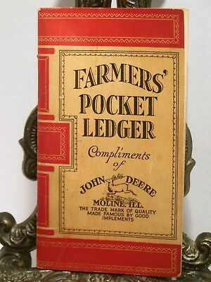 1925 John Deere Farmers Pocket Ledger Shows Tractor Plows Harrow Cultivator MORE