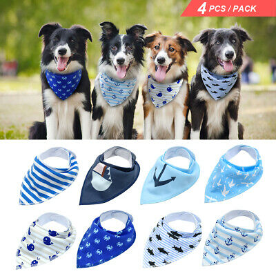 4pcs/Lot Bandana-Style Dog Collars Soft Cotton Cat Puppy Neck Scarf Neckerchief