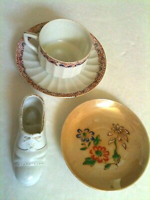 Vintage Made in Occupied Japan 1940's Porcelain Cup Saucers Shoe Lot of 4