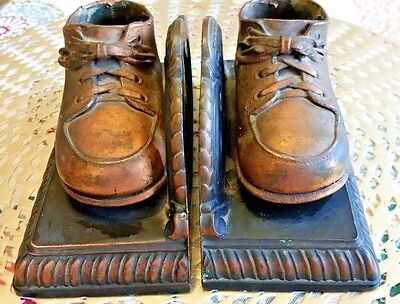 Baby Shoe Bookends Vintage Bronzed Metal Copper Dipped Pair Child Toddler Bootie