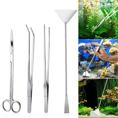 4PCS Acier inoxydable Aquarium Tank Aquatic Plant Tweezers and Scissors Spatula