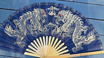 Large Asian Double Dragon Black Gold Wall Fan Fantasy Magical Bamboo Cloth Art