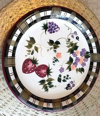 """Oneida Platter Chop Plate Strawberry Plaid 12"""" Round Party Floral Multi-Color"""