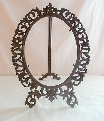 Antique Cast Iron Oval Picture Frame Mirror Art Nouveau Victorian Ornate