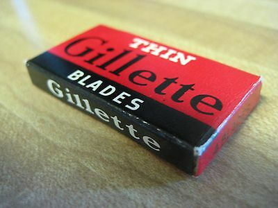Vintage 4 pack Thin Gillette Single Edge Razor Blades in Package Box