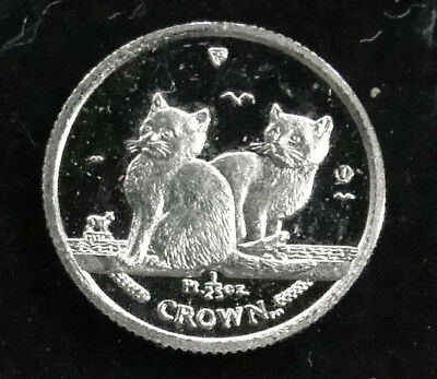 Rare Platinum 2003 1/25th Ounce Isle Of Man 2 Cats Playing Crown Coin