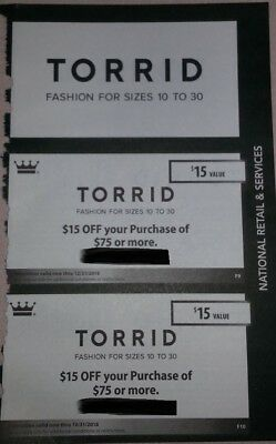 TORRID  Two (2) Coupons  Save $30  ***valid now thru Dec 2018*** Online/Instore