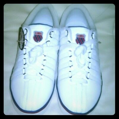 Vintage Womens K-Swiss White Red Navy Blue Leather Sneakers Tennis Shoes Sz 9