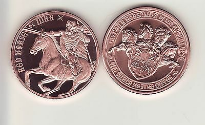 "RED HORSE  of  WAR 1 oz. Copper Round  PROOFLIKE Obverse ""1st Print Run"""