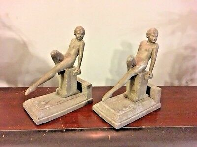 1920s Vtg 1930s Spelter Cast Metal Bookends Art Deco Reclining Nude Figural