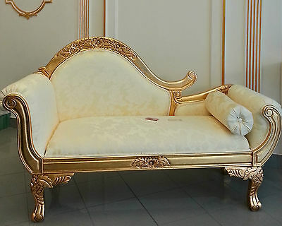 Day bed sofa leaf gold solid wood fabric damasked st14658