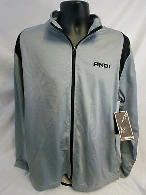 NEW- MEN AND1 Shirt Athletic Track Suit Large  Grey & Black Basketball