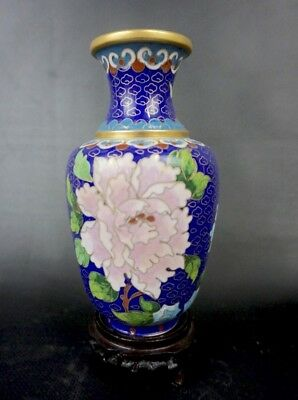 Cobalt Blue Rose Chinese Cloisonne and Art Deco Wooden Salt and Pepper Shakers