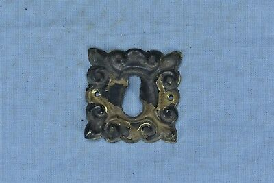Antique FANCY VICTORIAN PRESSED BRASS KEY HOLE COVER ESCUTCHEON HARDWARE #04643