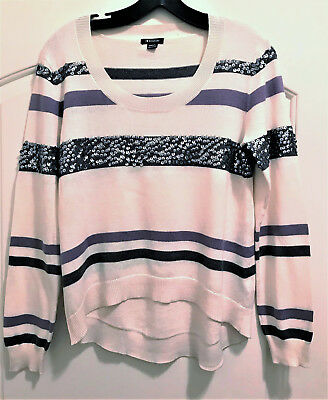Valentines!  I Love Ronson - Pretty Striped Sequin Sweater!   Sz S   Nwot!