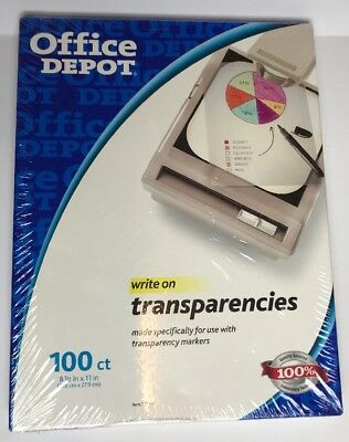 "Office Depot Write-On Transparencies, 8.5x11"", 100 ct, 337-843, NEW"