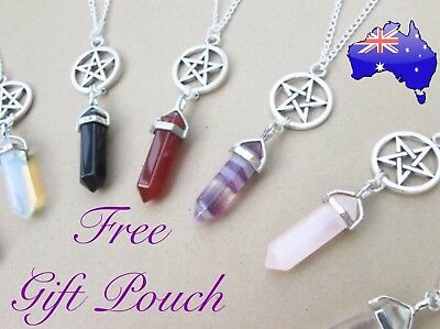 Pentagram Witch Wicca Crystal Quartz Natural Stone Pendant 925 Sterling Necklace