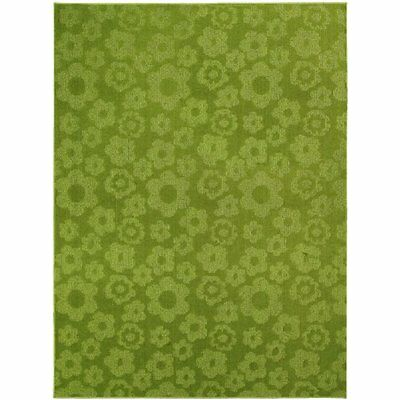 Garland Rug Area Rugs Flowers Rug, 7-Feet 6-Inch By 9-Feet 6-Inch, Lime