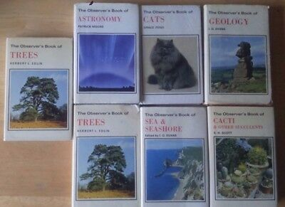 Observer's Books Job Lot 8 BOOK LOT 1970'S Geology Trees Cacti Astronomy Cats