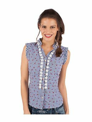Almsach Traditional Costume Blouse Bobi-Co Sleeveless Jeans Blue