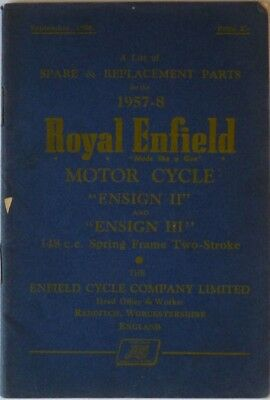 Royal Enfield Ensign II and Ensign III 1957-8 Spare and Replacement Parts List