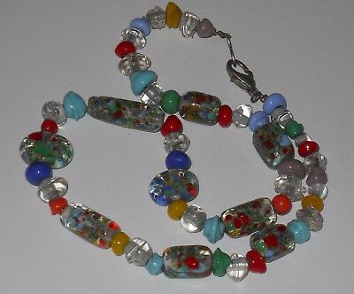Vintage colorful glass ceramic? paint speckled beads necklace jewelry #6309