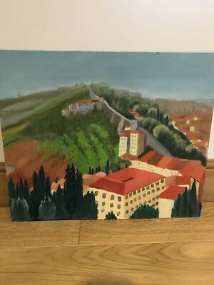 Vintage Original Oil On Board Painting, Vera lamb, Tuscany, Rural Countryside,