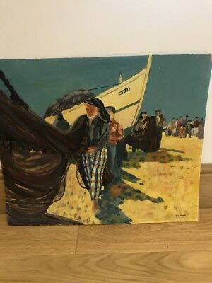 Vintage Original Oil On Board Painting, Vera lamb,Biblical Fishermen, Eastern ❤️