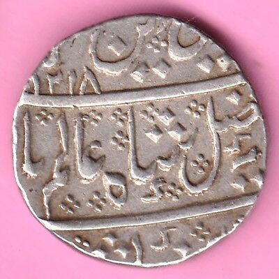 French India-Ah:1218-Arkat Mint-In The Name Of Shah Alam-One Rupee Silvercoin-43