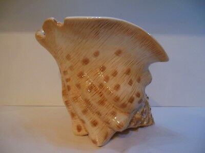 FITZ AND FLOYD Seaboard Collection Large Ceramic Conch Shell Vase Retired Mint